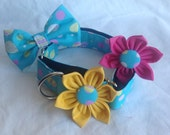 """Martingale Dog Collar Flower And Bow Tie Set - Blue Easter Egg  - Available In 1"""" And 1.5"""" Width - Size S, M,  L, XL"""