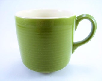 Green Coffee Mug -- Vintage Avocado Green with Groovy Texture - Retro, Cool