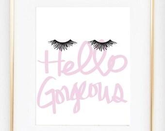 Eyelash Art Makeup Poster, Hello Gorgeous Print, Makeup Print, Dorm Decor, Girls Bedroom Wall Poster, Fashion Artwork Gift for Her