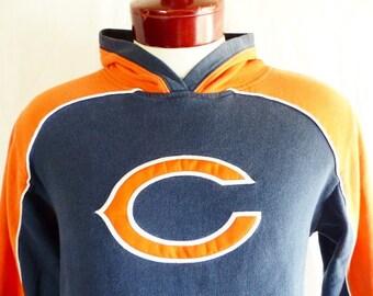 vintage 90's Chicago Bears NFL Football team colorblock two tone orange navy blue fleece graphic hoodie sweatshirt embroidered applique logo