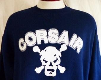 Go SMC Corsairs vintage 80's 90's Santa Monica Collge Varsity football navy blue fleece graphic sweatshirt white skull bones logo print  XL