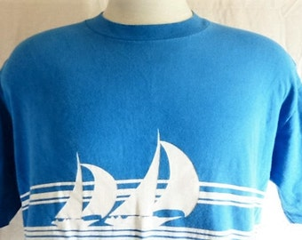 aloha vintage 80s Hawaii blue graphic t-shirt white double sided yacht boat ocean print chest stripe travel tourist souvenir crazy shirt XL