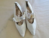 SALE 20s wedding shoes size 7N US / 20s heels / flapper shoes / 20s leather shoes / kid leather heels