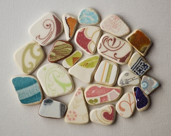 23pieces,Patterned  Sea Pottery Lot, Ornamental/Geometric Pattern, Pendant/Ring Sized, Pink/Blue/Green/Brown/ White, Mosaic Pieces