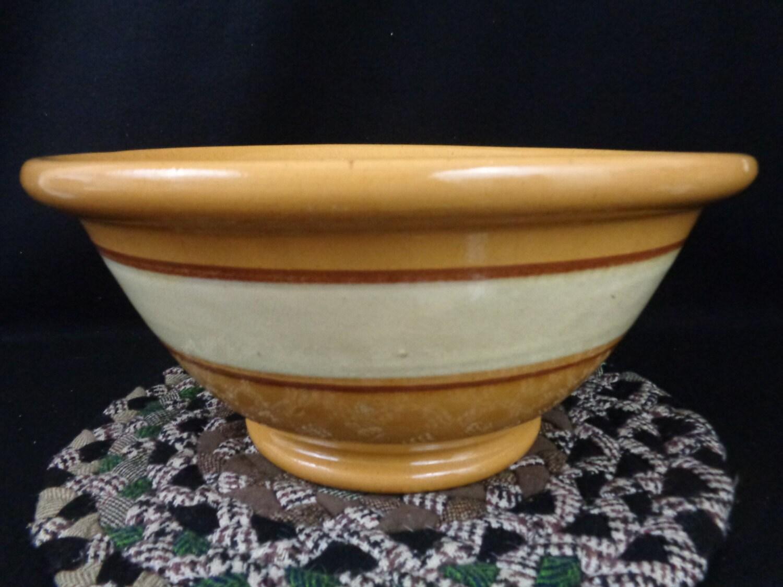 Large Yellow Ware Mixing Bowl Antique Yelloware Dough Bowl
