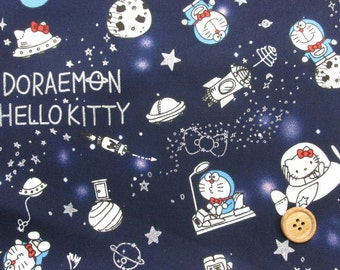Doramemon and Hello Kitty in Space Navy Blue / Japanese Fabric 100cm x 50cm