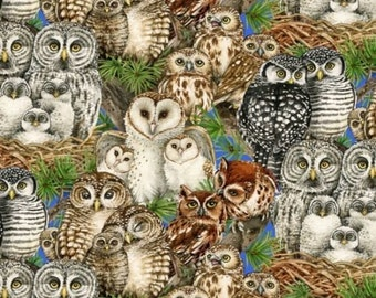 Fat Quarter Owl Families Various Owl 100% Cotton Quilting Fabric