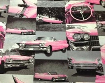 Fat Quarter On The Road Again Pink Cadillac Cars 100% Cotton Quilting Fabric