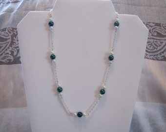 White Wedding Faux Pearl Necklace with Teal & White Pearls