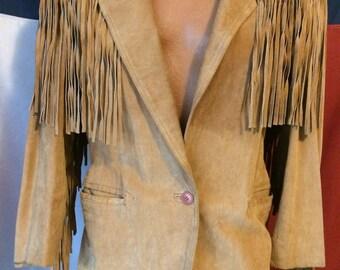 Vintage medium tan suede fringed jacket