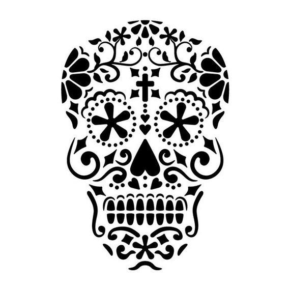 Items similar to Sugar Skull Stencil on Etsy
