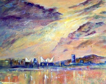 Original art, acrylic, sunset, sky painting, skyscape, Lookout Mountain  Chattanooga Tennessee River waterfront peaks