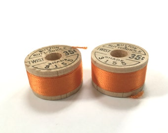 BELDING CORTICELLI - Vintage Thread - Pure Silk - Orange #3155 - 10 yd Spool - Buttonhole Embroidery Ribbon Fly Tying