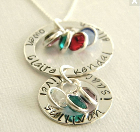 Sterling Silver Grandmother necklace, Personalized Name necklace, Custom Made name necklace, Birthstone jewelry, up to 9 name, Nana necklace