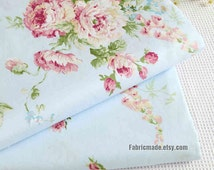 Cabbage Rose Floral Fabric, Shabby Chic Pink Rose Flower on Light Blue, Pink Rose Fabric - 1/2 yard