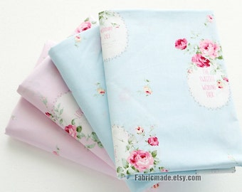 Pink Rose Floral Cotton Fabric, Sweet Wedding Roses Light Blue Pink Cotton Flower Fabric - 1/2 yard