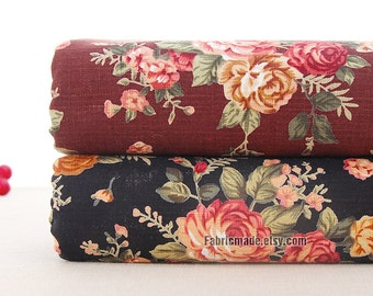 Country Shabby Cotton Linen Fabric, Vintage Cabbage Rose Japanese Linen Fabric In Brown Black - 1/2 Yard