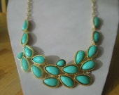 SALE Bib Necklace with Turquoise Teardrop Pendants on a Gold Tone Chain
