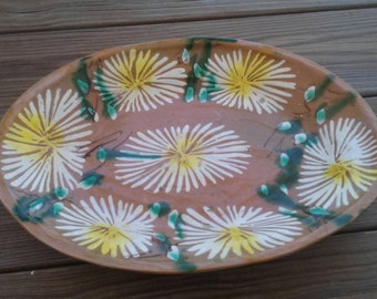 Vintage Mexican Pottery Bohemian Ethnic Platter
