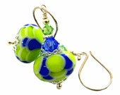 Fresh lime and vibrant cobalt blue lampwork earrings with genuine blue and peridot Swarovski crystals, Sterling Silver