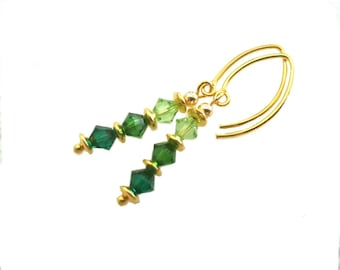 Special Shades of Green in Swarovski crystal earrings, Vermeil earwires
