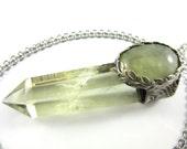 rivendell - prehnite & citrine crystal necklace - raw crystal jewelry