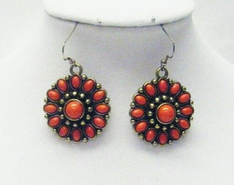 Round Antique Gold Plated and Red Coral Earrings