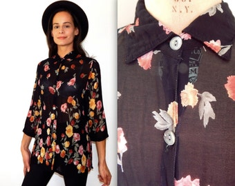 vintage sheer blouse 90s hipster top black floral button up shirt country western cowgirl pretty blouse 90s goth spring black floral top
