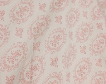 Vintage 1940 feather bed duvet cover french pink roses shabby nordic chic rare print eiderdown quilt boutis down