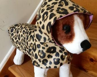 Dog Leopard hoodie Raincoat by FiercePetFashion