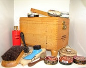 Esquire Shoe Valet Deluxe, Shoe Shine, Vintage Shoe Valet, Wood Shoe Valet, Tongue and Groove, Oak Wood, Mid Century