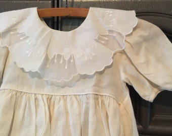 Adorable White Toddlers Linen Dress