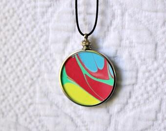 Hand Marbled Art Medallion Pendant