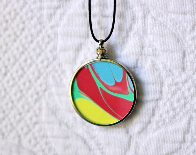 Featured listing image: Island Song Hand Marbled Abstract Art Medallion Pendant Necklace