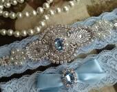 SALE-CUSTOM-Wedding Garter-Bridal Garter-Garter-Something Blue-Rhinestone-Pearl-Keepsake-Lace Garter-Ivory-Garter Belt-Elastic Garter-Toss
