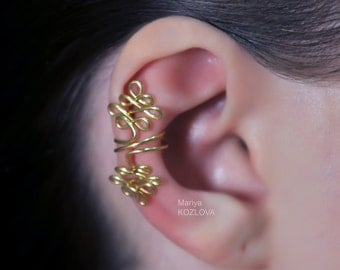 No Piercing Corset Weaving Gold Conch Ear Cuff/ cartilage ear jacket/ ear manchette/ ohrklemme ohrclip/piercing imitation/fake faux piercing