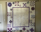 Purple Snowman Embroidery Large Quilted Wall Hanging