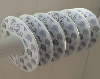 Baby Closet Dividers Clothes Dividers Closet Organizers Baby Shower Gift Gray White Elephants Baby Nursery