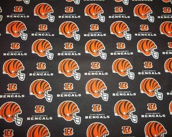 CINCINNATI BENGALS - NFL  Football  Fabric 1/2  Yard  Piece  Black 100% Cotton