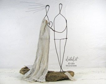Unique Wedding Couple Driftwood and Wire Sculpture Mixed Media Art Anniversary Gift Forever in my Heart