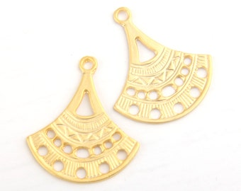 Matte Gold Fan Shaped Multi Link Tribal/Ethnic Connertors, 2 pcs // GC-407