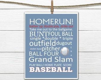 Baseball Word Art  - Baseball Decor - INSTANT Download PDF 8x10