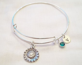 Alex and Ani Style Sunflower Bracelet -- Personalized, Birthstone, Sunflower, Nature, Wedding, Bride/Bridesmaids Gift -- MADE TO ORDER