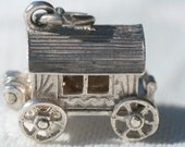 FREE SHIPPING  Sterling Silver 1960s Vintage Nuvo Gypsy Wagon Cart Fortune Teller Opening Charm