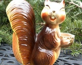 SAVE for Carla--Vintage Squirrel Nut Holder, Ceramic, The Filbert Tree, Huffy Puff