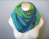 Crochet Turquoise, Green, Chartreuse, Yellow Green, Royal Blue Cowl Neck Scarf, Women's Scarf, Men's Scarf, Women's Cowl, Men's Cowl