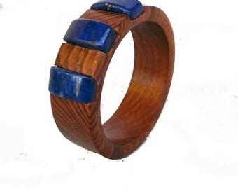 Wood Bangle/Bracelet with Blue Lapis