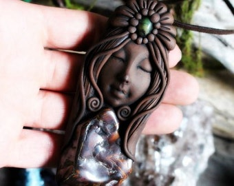 Goddess Necklace with Green and Red/Brown Jasper Necklace. Handcrafted Clay & Gemstone Pendant.