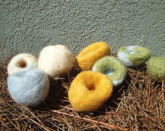 Set of Eight Handmade Felted Wool Bird Nests