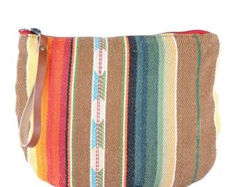 Santa Fe Jaya Moon Clutch -Handmade Bohemian Fabric & Leather -Environmentally Conscious- purse/clutch/pouch/hand bag/designer/tote